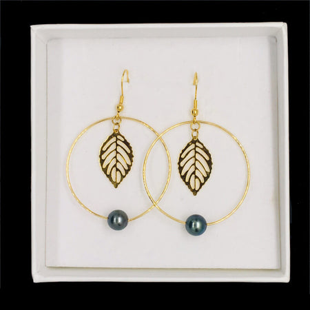 earrings with pearls & golden thin leaf in gift box