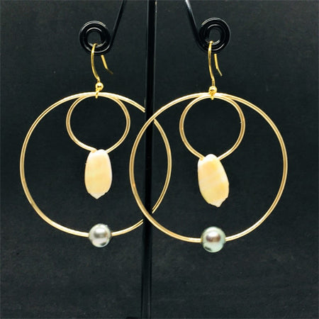hoop earrings look with little white shell