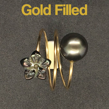 ring ideas for women in gold-filled with black little pearly flower