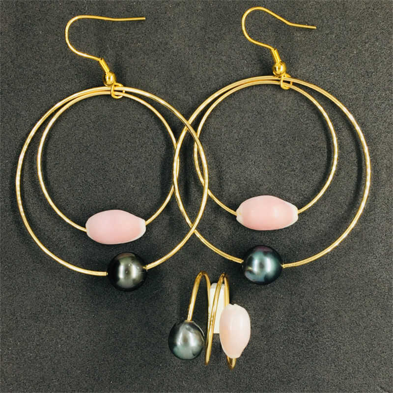 ring & earrings with Tahitian pearl & natural pink shell
