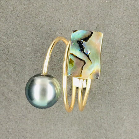 ring with pearl & coloured mother-of-pearl