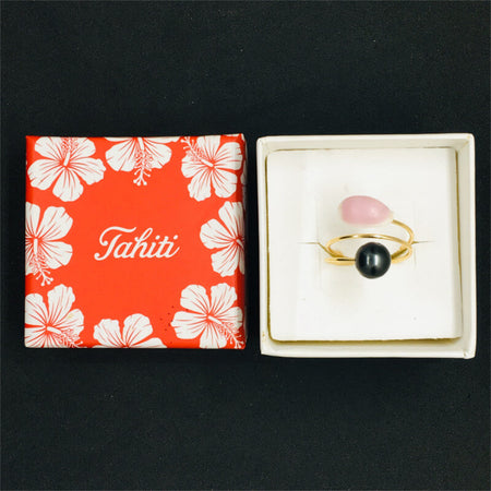 ring with Tahitian pearl & natural pink shell in gift box