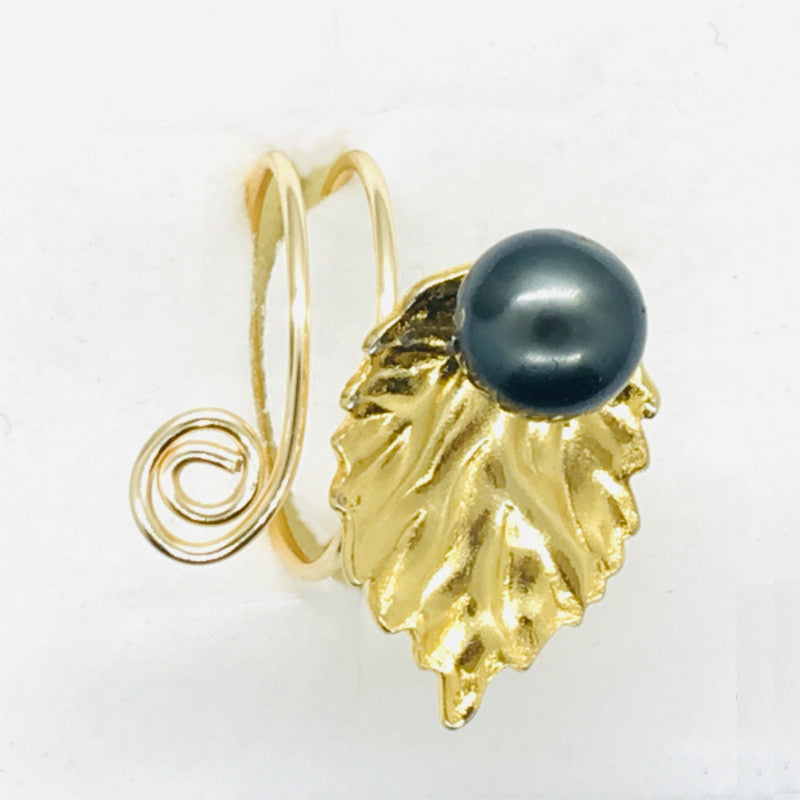 Ring with Tahitian black pearl & Thick Leaf