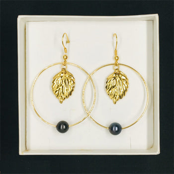 earrings with pearls & golden thick leaf