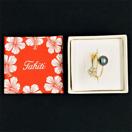 Ring with Tahitian black pearl & White Flower in gift box
