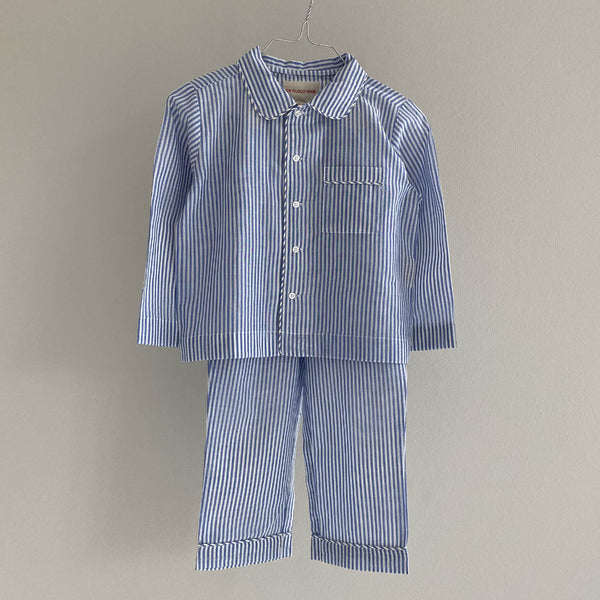 Kids pajama set blue stripes