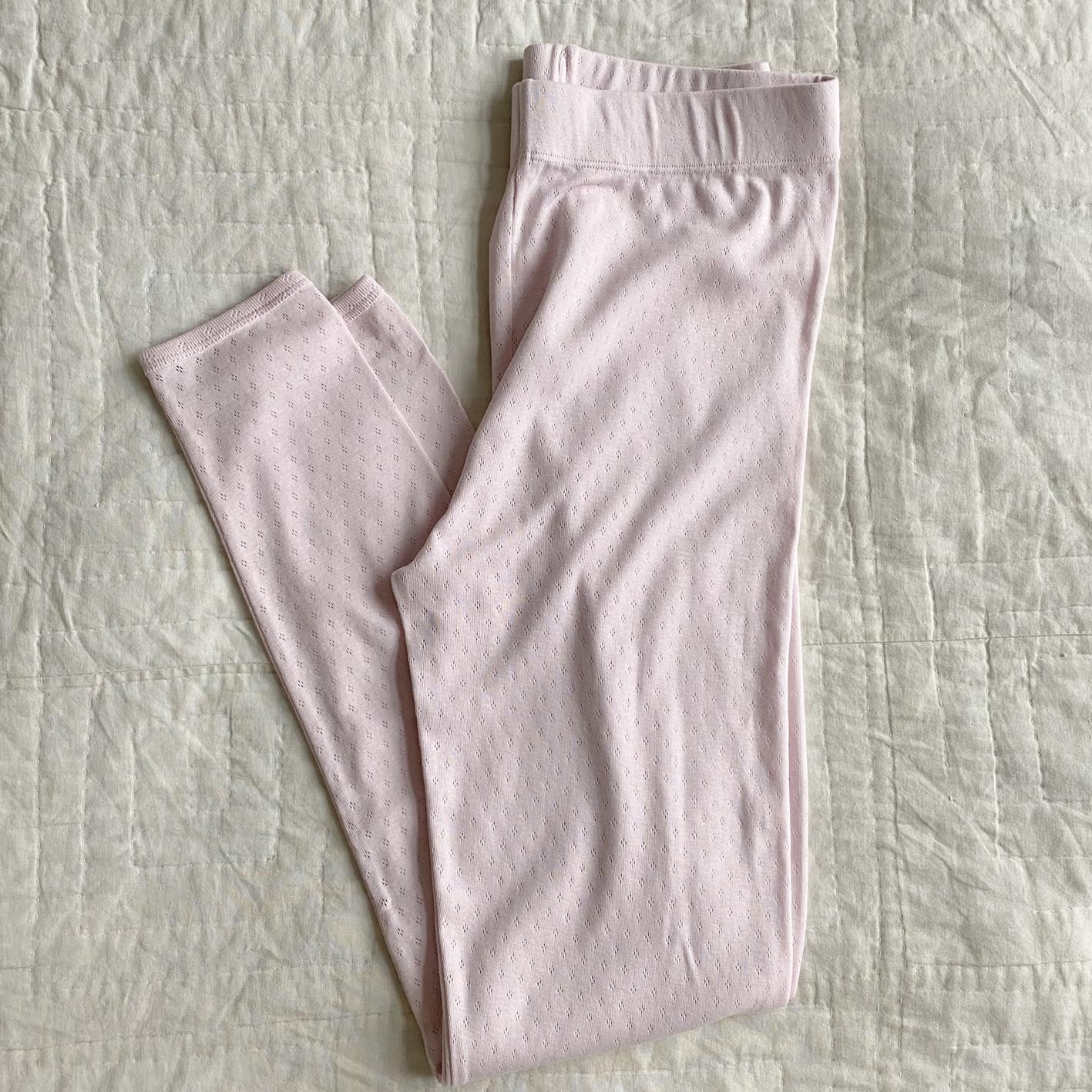 ELLY PYJAMAS LEGGINGS // WOMEN // PINK CLOUD ORGANIC POINTELLE JERSEY
