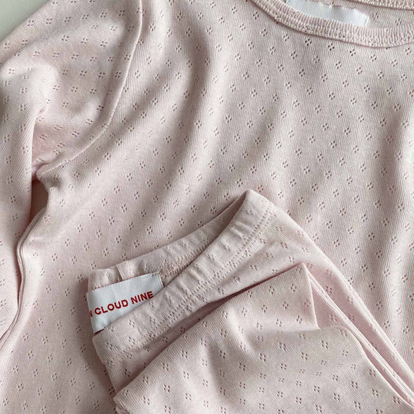 ELLY PYJAMAS LEGGINGS // CHILDREN // PINK CLOUD ORGANIC POINTELLE JERSEY