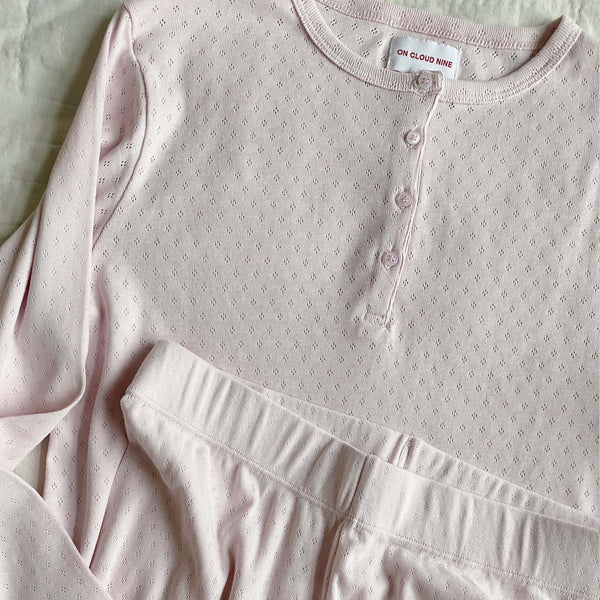 ELLY PYJAMAS BLOUSE // WOMEN // PINK CLOUD ORGANIC POINTELLE JERSEY