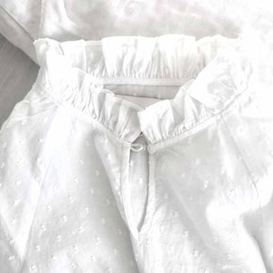 Kids nightgown white woven dot