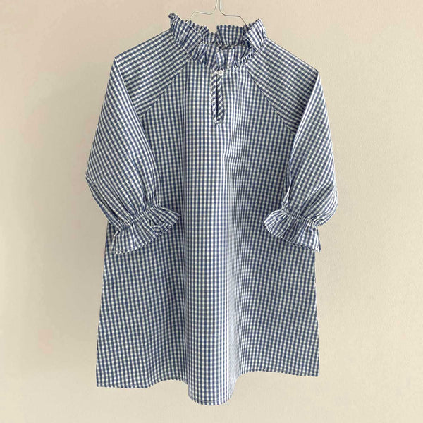 MARTHA DRESS // CHILDREN //  BLUE CHECKS COTTON POPLIN