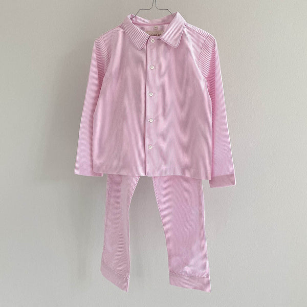 Kids pajama set pink stripe