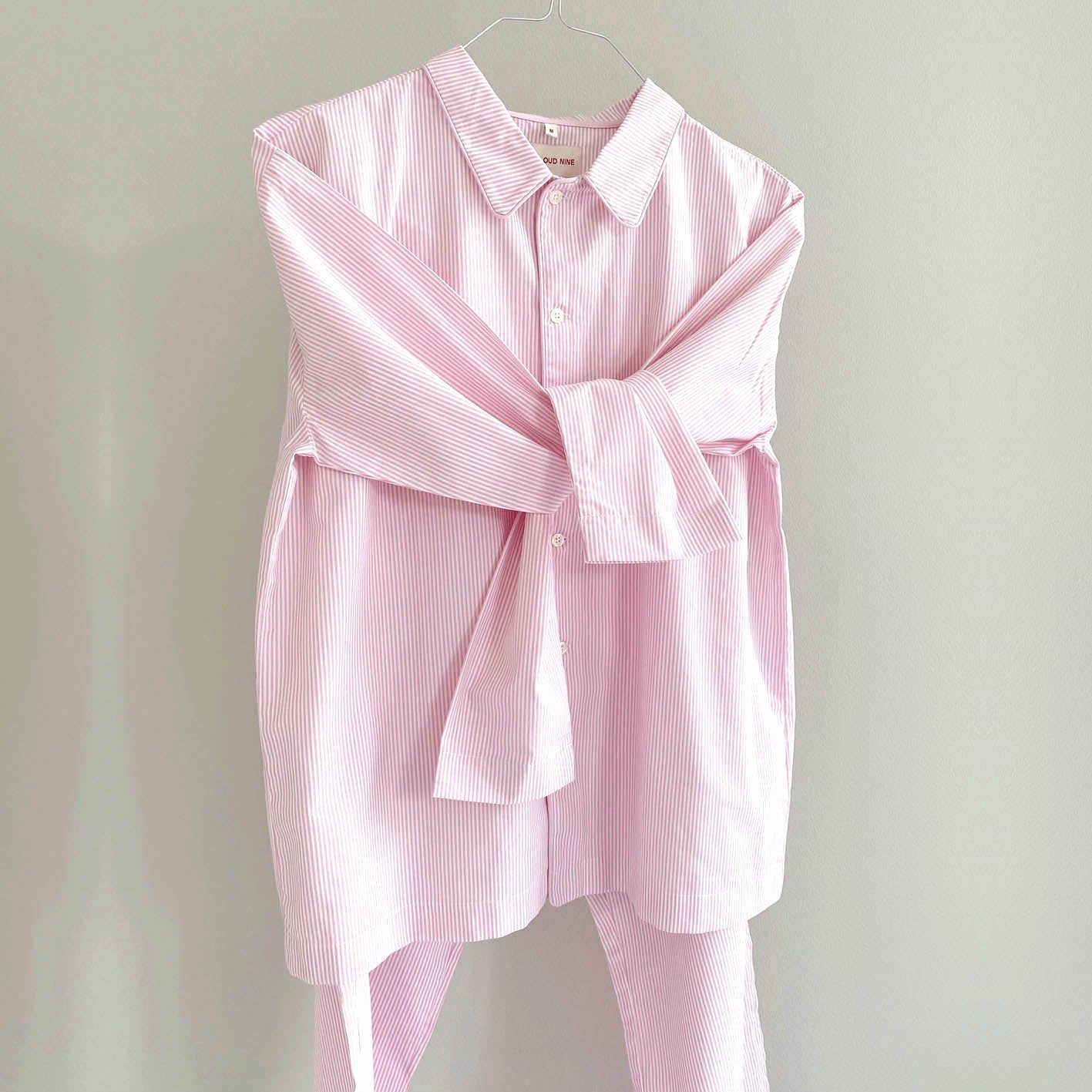 ADDIE PYJAMAS SET // WOMEN // PINK STRIPE COTTON POPLIN