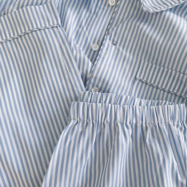 ADDIE PYJAMAS SET // WOMEN // BLUE & WHITE Y/D STRIPE COTTON POPLIN