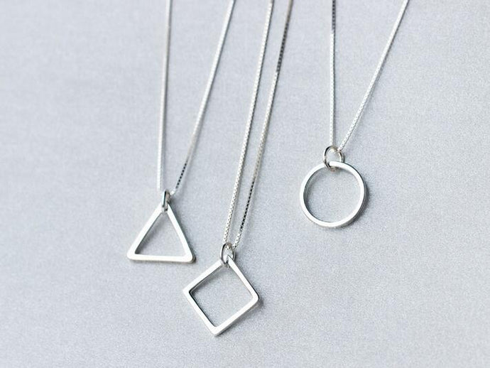 Sterling Silver Geometric Pendant Necklace - Triangle, Circle or Square