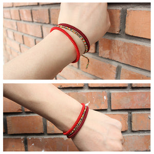 Tibetan Buddhist Lucky Knots Rope Bracelet - Red Triple