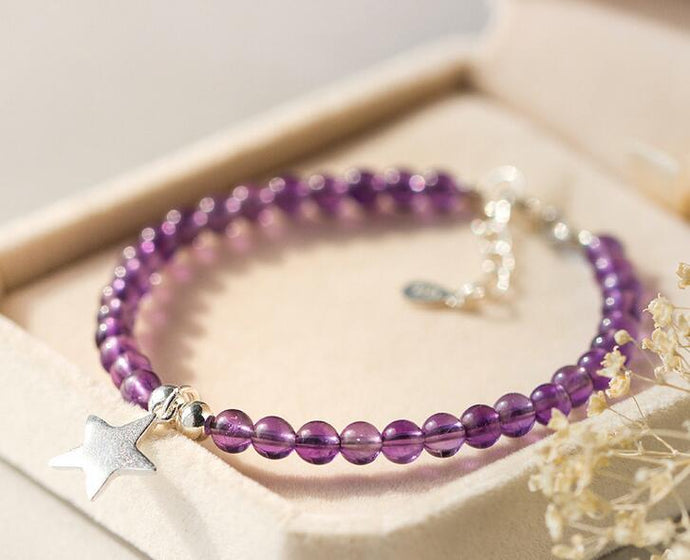 Sterling Silver & Amethyst Bead Bracelet with Star Charm
