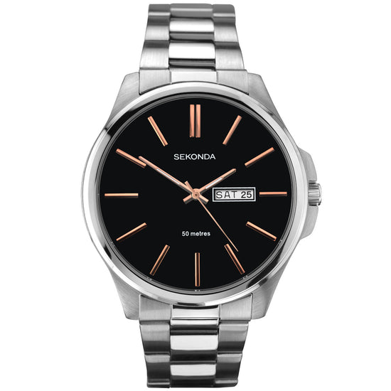 Sekonda Men's Classic Stainless Steel Bracelet Watch Front View