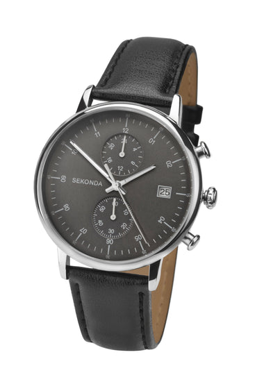 Sekonda Men's Dual Time Black Leather Strap Watch