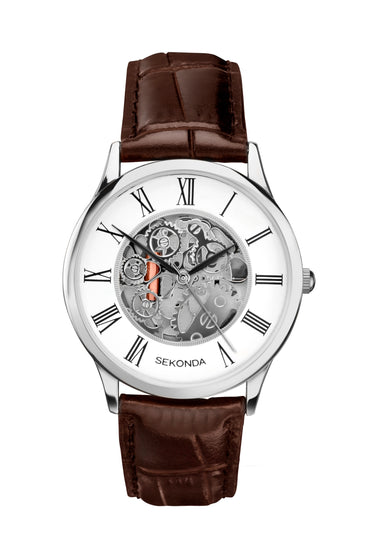 Sekonda Men's Skeleton Effect Leather Strap Watch