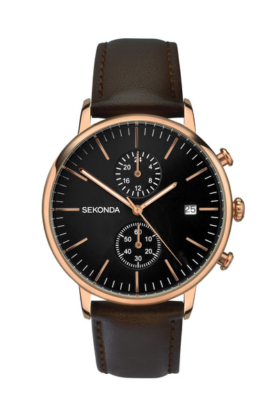 Sekonda Men's Brown Leather Strap Dress Watch