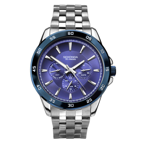 Sekonda Men's Stainless Steel Bracelet Sports Watch 1391 Front View