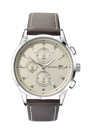 Sekonda Men's Dual Time Brown Leather Strap Watch