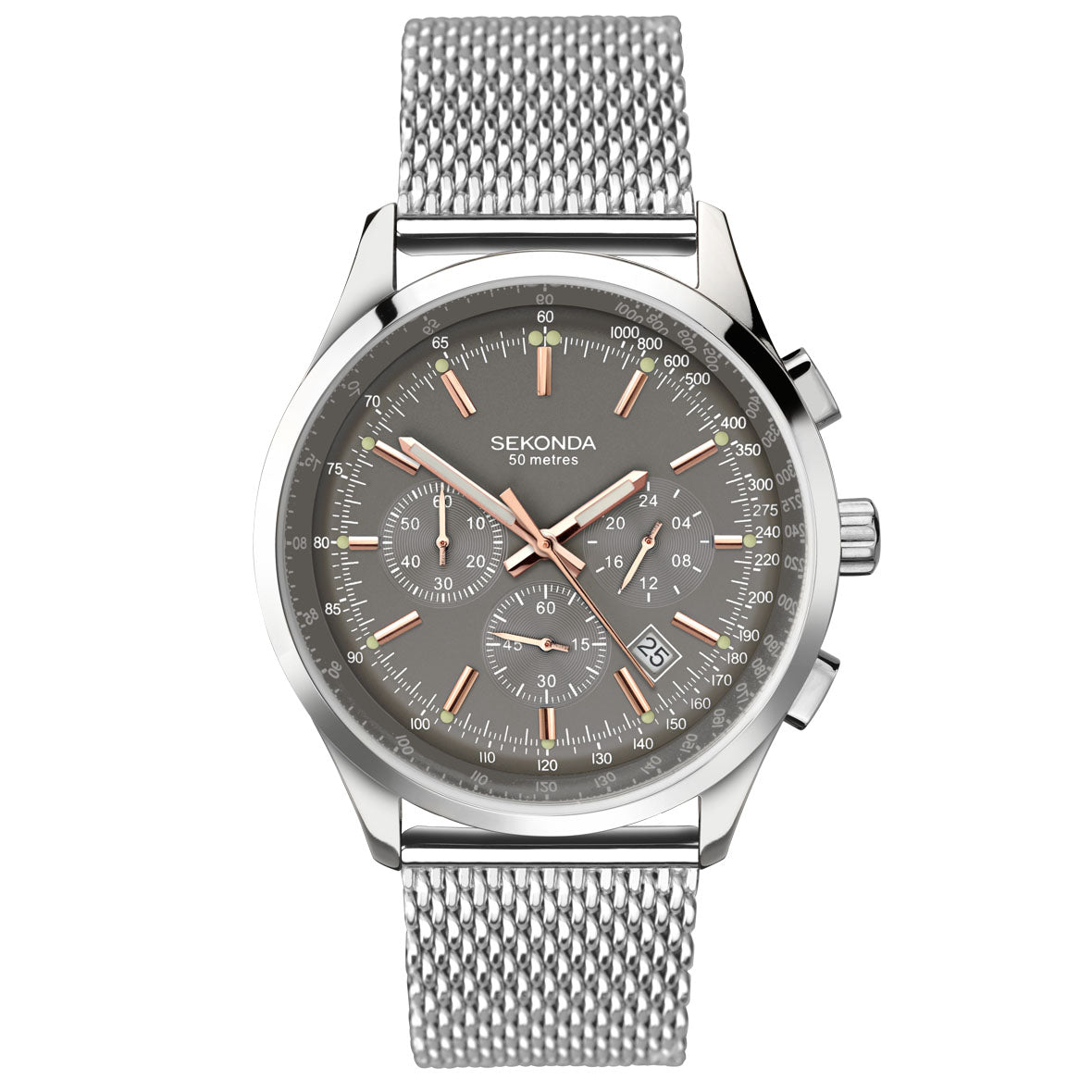 Mens Stainless Steel Milanese Chronograph Watch 1490 Sekonda