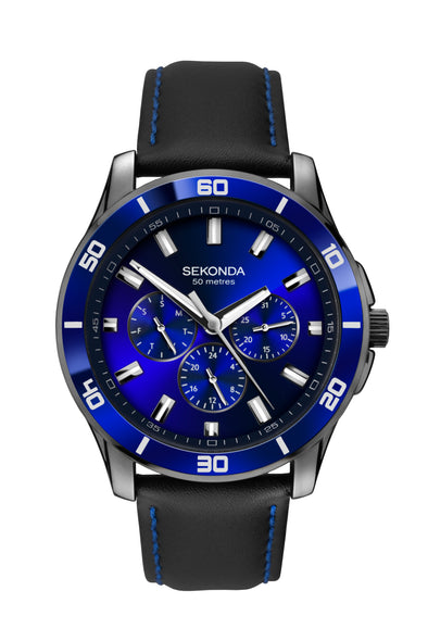 Sekonda Midnight Blue Men's Black Strap Dress Watch
