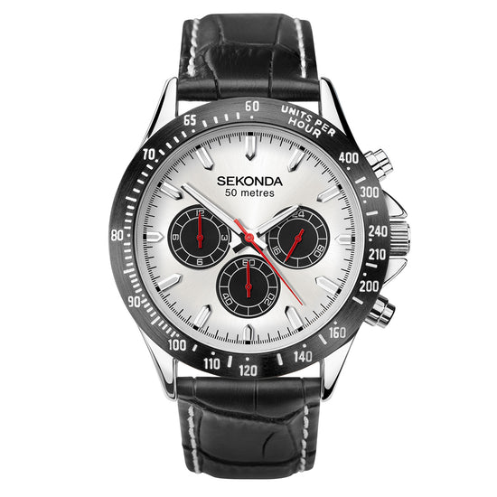 Sekonda Men's Classic Dual-Time Leather Strap Watch