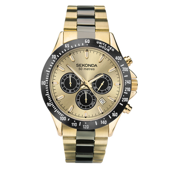 Sekonda Men's Classic Dual-Time Gold Plated Watch