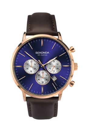 Sekonda Men's Rose Gold Plated Dual-Time Dress Watch
