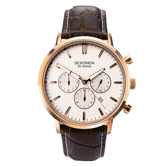 Sekonda Men's Classic Dual-Time Brown Strap Watch