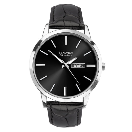 Sekonda Men's Classic Black Leather Strap Watch