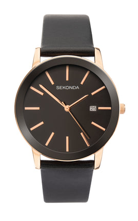 Sekonda Men's Rose Gold Plated Leather Strap Watch