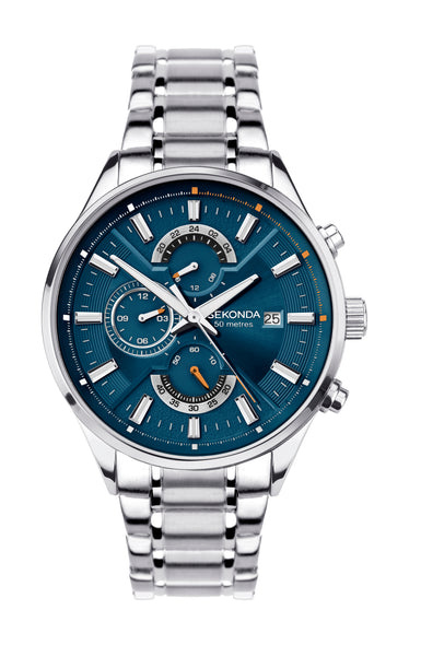 Sekonda Men's Blue Dial Dual Time Watch