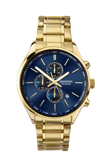 Sekonda Men's Gold Plated Dual Time Bracelet Watch