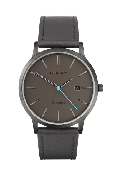 Sekonda Men's Grey Leather Strap Watch