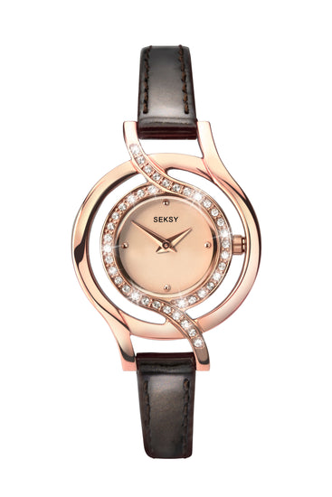 Seksy Women's Brown Leather Strap Watch