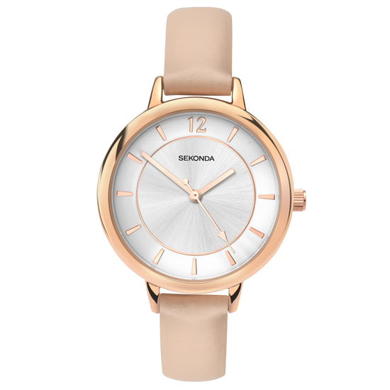 Sekonda Editions Cream Strap Watch Front View