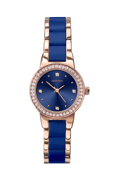 Sekonda Women's Rose Gold Plated and Blue Bracelet Watch