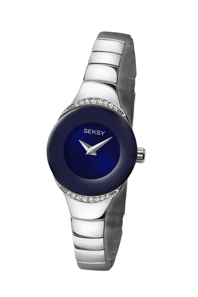 Seksy Women's Blue Dial Silver Bracelet Watch