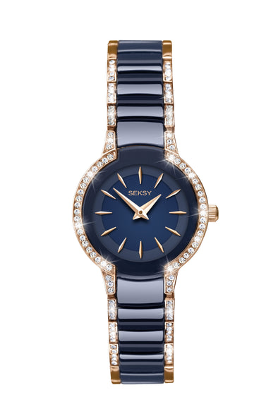 Seksy Women's Rose Gold Plated and Dark Blue Bracelet Watch