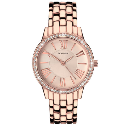Sekonda Women's Fashion Rose Gold Watch - 2400 Front View