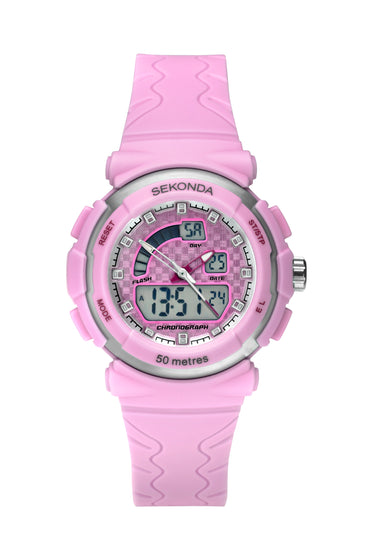 Sekonda Women's Analogue-Digital Pink Strap Watch