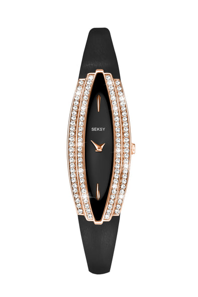 Seksy Women's Rose Gold Plated Leather Strap Watch
