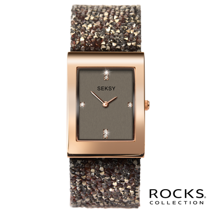 Seksy Rocks® Rectangular Rose Gold Plated Bracelet Watch