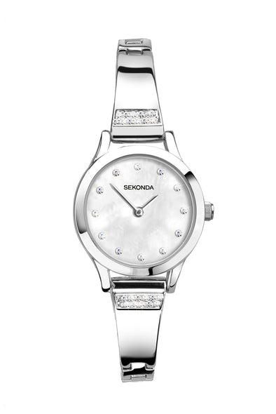 Sekonda Women's Silver Coloured Stone Set Bracelet Watch