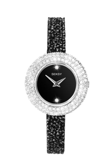 Seksy Women's Black Stone Set Bracelet Watch