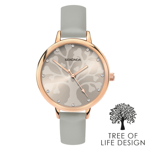 Sekonda Editions Tree of Life Design Grey Watch Front View